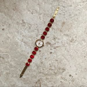 Betsey Johnson Watch with Ruby Res Stones